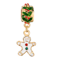 Charms Beads - SILVER HOLLY GINGERBREAD MAN COOKIE FOR GOLD PLATED BEADS CHARMS BRACELETS FIT ALL BRANDS alternate image 2.