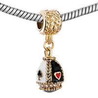 Charms Beads - GOLDEN EGG CLEAR CRYSTAL WHITE BLACK DRIP GUM DANGLE BEAD CHARMS alternate image 1.