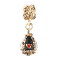 Charms Beads - GOLDEN EGG CLEAR CRYSTAL WHITE BLACK DRIP GUM DANGLE BEAD CHARMS alternate image 2.