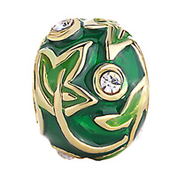 Charms Beads - EMERALD LIME MAPLE LEAF CRYSTAL FABERGE EGG BEADS CHARMS BRACELETS alternate image 2.