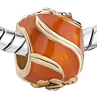 Charms Beads - ORANGE FOUR LEAF CELTIC CLADDAGH IRISH CHARM CLOVER FABERGE EGG alternate image 1.