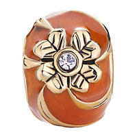 Charms Beads - ORANGE FOUR LEAF CELTIC CLADDAGH IRISH CHARM CLOVER FABERGE EGG alternate image 2.