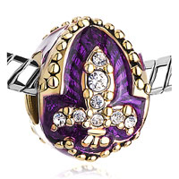 Charms Beads - AMETHYST PURPLE FLEUR DE LIS CHARM CRYSTAL FABERGE EGG BEADS CHARMS alternate image 1.