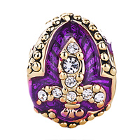 Charms Beads - AMETHYST PURPLE FLEUR DE LIS CHARM CRYSTAL FABERGE EGG BEADS CHARMS alternate image 2.