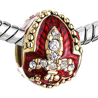 Charms Beads - 22K GOLDEN GARNET RED DRIP GUM FLEUR DE LIS CHARM CRYSTAL FABERGE EGG alternate image 1.