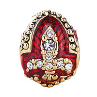 Charms Beads - 22K GOLDEN GARNET RED DRIP GUM FLEUR DE LIS CHARM CRYSTAL FABERGE EGG alternate image 2.