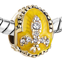 Charms Beads - 22K GOLDEN TOPAZ YELLOW DRIP GUM FLEUR DE LIS CHARM FABERGE EGG alternate image 1.
