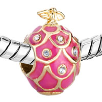 Charms Beads - 22K GOLDEN ROSE PINK DRIP GUM BIRD CRYSTAL FABERGE EGG BEAD CHARMS alternate image 1.
