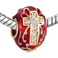 Charms Beads - RED CELTIC CLADDAGH IRISH CROSS CHARMS CRYSTAL FABERGE EGG CHARMS alternate image 1.
