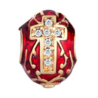 Charms Beads - RED CELTIC CLADDAGH IRISH CROSS CHARMS CRYSTAL FABERGE EGG CHARMS alternate image 2.