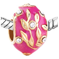 Charms Beads - 22K GOLDEN ROSE PINK DRIP GUM BRANCH LEAVES CRYSTAL FABERGE EGG alternate image 1.