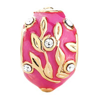 Charms Beads - 22K GOLDEN ROSE PINK DRIP GUM BRANCH LEAVES CRYSTAL FABERGE EGG alternate image 2.