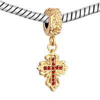 Charms Beads - GOLD CELTIC CLADDAGH IRISH CROSS JULY BIRTHS RED CHARM SPACER DANGLE alternate image 1.