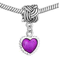 Charms Beads - SERRATE EDGE HEART CHARM BRACELET PURPLE DRIP GUM DANGLE BEADS alternate image 1.