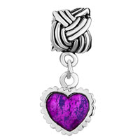 Charms Beads - SERRATE EDGE HEART CHARM BRACELET PURPLE DRIP GUM DANGLE BEADS alternate image 2.