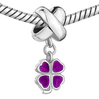 Charms Beads - LEAF CLOVER PURPLE DRIP GUM DANGLE EUROPEAN BEAD CHARMS BRACELETS alternate image 1.