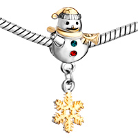 Charms Beads - CUTE SNOWMAN HORN GREEN RED CRYSTAL DANGLE S SNOWFLAKE BEAD CHARM GOLD alternate image 1.