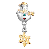 Charms Beads - CUTE SNOWMAN HORN GREEN RED CRYSTAL DANGLE S SNOWFLAKE BEAD CHARM GOLD alternate image 2.