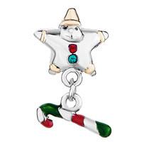Charms Beads - POINTED STAR SHAPED SANTA CLAUS GREEN CRYSTAL DANGLE STICK CHARMS alternate image 2.