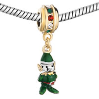 Charms Beads - COLORFUL CRYSTAL DANGLE GREEN RED DRIP GUM ELF BEADS CHARMS GOLD alternate image 1.