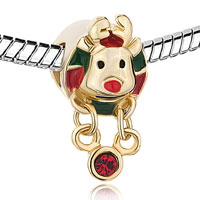 Charms Beads - GOLDEN CHARM RUDOLPH REINDEER RED GREEN DRIP GUM DANGLE CRYSTAL alternate image 1.
