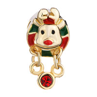 Charms Beads - GOLDEN CHARM RUDOLPH REINDEER RED GREEN DRIP GUM DANGLE CRYSTAL alternate image 2.