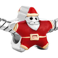 Charms Beads - SILVER RED SANTA CLAUS EUROPEAN INFANT CHARM BEAD CHARMS BRACELETS alternate image 1.