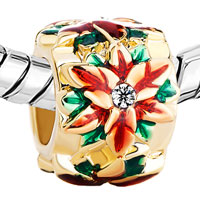 Charms Beads - GOLDEN CYLINDER RED GREEN DRIP GUM FLOWER CLEAR CRYSTAL PISTIL GOLD PLATED BEADS CHARMS BRACELETS FIT ALL BRANDS alternate image 1.