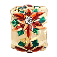 Charms Beads - GOLDEN CYLINDER RED GREEN DRIP GUM FLOWER CLEAR CRYSTAL PISTIL GOLD PLATED BEADS CHARMS BRACELETS FIT ALL BRANDS alternate image 2.