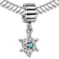 Charms Beads - MARCH BIRTHS AQUAMARINE CRYSTAL SNOWFLAKE DANGLE CHRISTMAS CHARM alternate image 1.