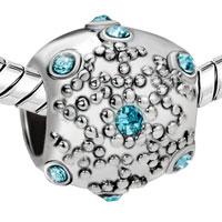 Charms Beads - AQUAMARINE CRYSTAL SNOWFLAKE EURO BEAD DESIGNER CHARM BRACELETS GIFT alternate image 1.