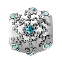 Charms Beads - AQUAMARINE CRYSTAL SNOWFLAKE EURO BEAD DESIGNER CHARM BRACELETS GIFT alternate image 2.
