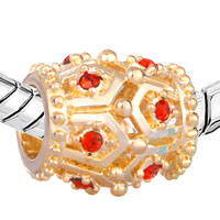 Charms Beads - GOLDEN OVAL RED CRYSTAL JULY BIRTHSTONE EURO BEADS CHARMS BRACELETS alternate image 1.