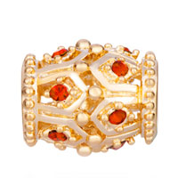 Charms Beads - GOLDEN OVAL RED CRYSTAL JULY BIRTHSTONE EURO BEADS CHARMS BRACELETS alternate image 2.
