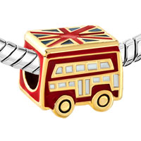 Charms Beads - SILVER RED SCHOOL BUS LONDON BRACELET CHARM GOLD EUROPEAN BEAD GIFT alternate image 1.