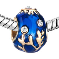 Charms Beads - 22K GOLDEN SAPPHIRE BLUE DRIP BRANCHES FABERGE EGG BEAD CHARM CHARM alternate image 1.