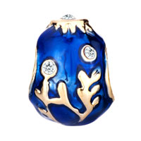 Charms Beads - 22K GOLDEN SAPPHIRE BLUE DRIP BRANCHES FABERGE EGG BEAD CHARM CHARM alternate image 2.