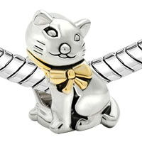 Charms Beads - GIFTS 22K GOLD SILVER CUTE CAT ANIMAL CHARMS FOR BRACELETS CHARM alternate image 1.