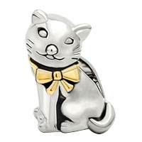 Charms Beads - GIFTS 22K GOLD SILVER CUTE CAT ANIMAL CHARMS FOR BRACELETS CHARM alternate image 2.