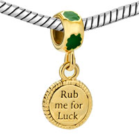 Charms Beads - 22K GOLD CLOVER RUB ME FOR LUCK ST PATRICK BEAD CHARM CHARM DANGLE alternate image 1.