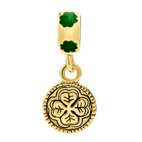 Charms Beads - 22K GOLD CLOVER RUB ME FOR LUCK ST PATRICK BEAD CHARM CHARM DANGLE alternate image 2.