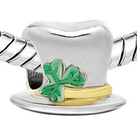 Charms Beads - 22K GOLD CLOVER MAGICIAN HAT ST PATRICK BEAD CHARM BRACELETS CHARM alternate image 1.