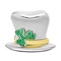 Charms Beads - 22K GOLD CLOVER MAGICIAN HAT ST PATRICK BEAD CHARM BRACELETS CHARM alternate image 2.