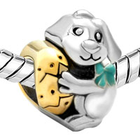 Charms Beads - 22K GOLD PLATED SILVER TONE RABBIT BUNNY HOLDING EASTER EGG BEAD CHARM alternate image 1.