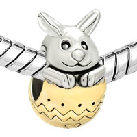 Charms Beads - 22K GOLD PLATED SILVER TONE CUTE RABBIT BUNNY EASTER BEAD CHARM alternate image 1.