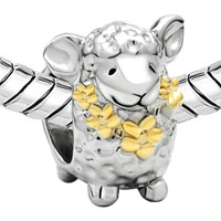 Charms Beads - MOTHERS DAY GIFTS 22K GOLD CUTE SHEEP ANIMAL CHARM FOR BRACELET CHARM alternate image 1.