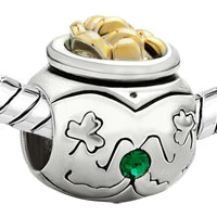 Charms Beads - 22K GOLDEN JAR CLOVER MAY BIRTHS EMERALD GREEN CRYSTAL BEAD CHARM alternate image 1.