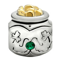 Charms Beads - 22K GOLDEN JAR CLOVER MAY BIRTHS EMERALD GREEN CRYSTAL BEAD CHARM alternate image 2.