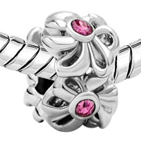 Charms Beads - OCT BIRTHSTONE ROSE PINK CRYSTAL FLOWER CHARMS BRACELETS FLORAL alternate image 1.