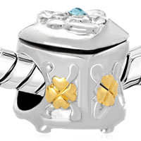 Charms Beads - 22K GOLD BLUE CRYSTAL GOLDEN CLOVER MAGIC BOX BEAD CHARM CHARM alternate image 1.